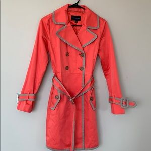 BANANA REPUBLIC coral/taupe trench coat  size XS.